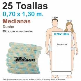 25 Toallas Desechables Spunlace 65gr 0,70 x 1,30 metros