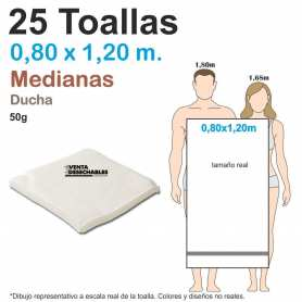 25 Toallas Desechables 50g 0,80 x 1,20 m - Medianas