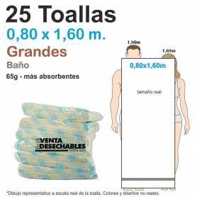 25 Toallas Desechables Spunlace 65gr 0,80 x 1,60 metros