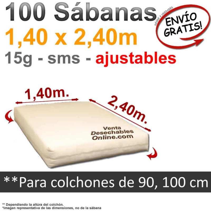 100 Sábanas Bajeras Desechables Ajustables 1,40x2,40m Genéricas