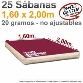 25 Sábanas Desechables 1,60x2,00m. Burdeos - Genéricas