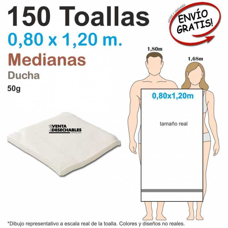 150 Toallas Desechables 50gr 0,80 x 1,20 metros