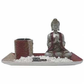 Portavela Buda Con Piedras Blancas y Plato Rojo - Plateado