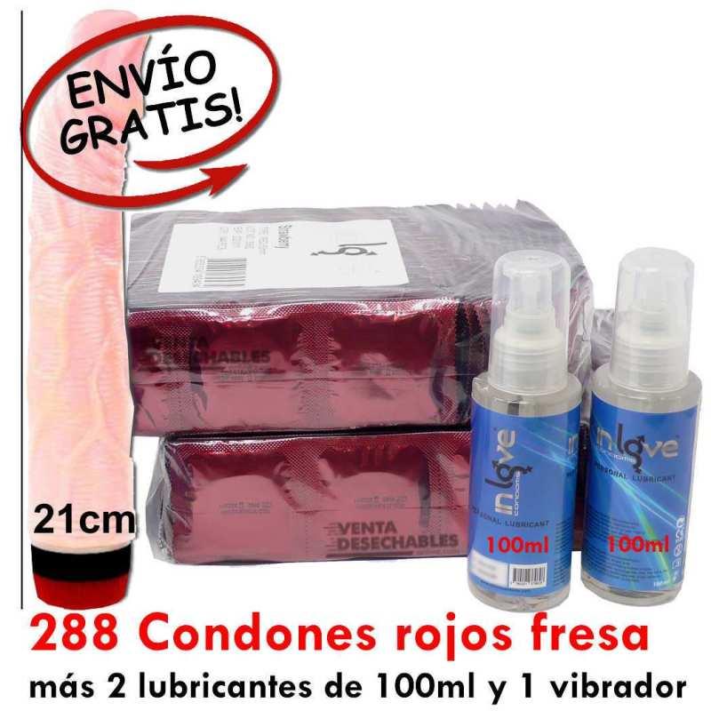 288 Preservativos Rojos Fresa, 2 Lubricantes y 1 Vibrador - In Love