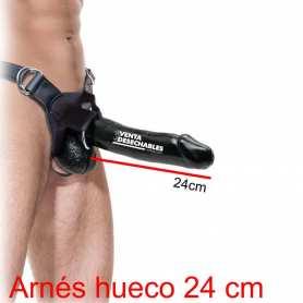 Arnés Hueco Con Consolador 24 cm Negro - Fetish