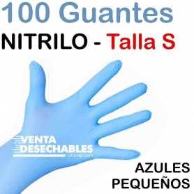 100 Guantes Nitrilo Talla S Azules
