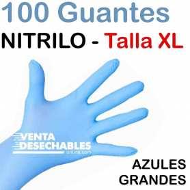 100 Guantes Nitrilo Talla XL Azules