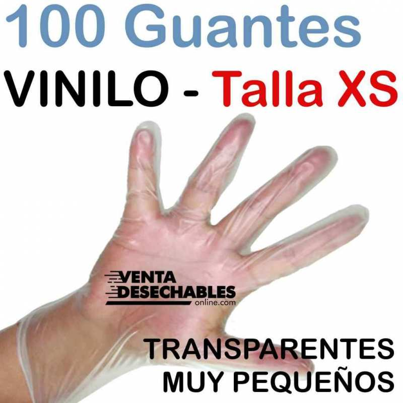 100 Guantes Vinilo Talla XS - Sin polvo