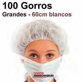 100 Gorros Recoge pelo TST Grande 60cm Blancos