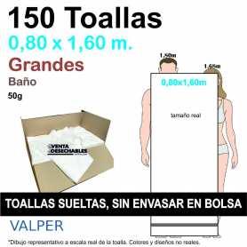 150 Toallas Desechables 50g 0,80 x 1,60 m Sin Envasar - Grandes