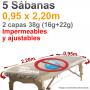 5 Sábanas Camilla Ajustables Plastificadas Blancas 0,95x2,20m 38 SMS