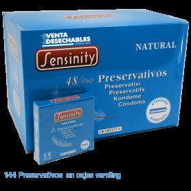 144 Condones Sensinity 190x55 Natural Caja Vending