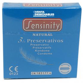 3 Condones Sensinity 190x55 Natural Caja Vending