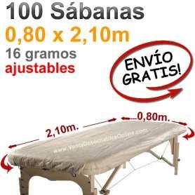 100 Sábanas Camilla Ajustables SMS 0,80x2,10m