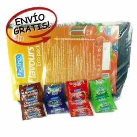 condones chocolate,fresa,arándanos y menta