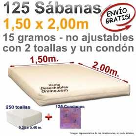 125 Sábanas desechables 1,50x2,00m + 250 toallas desechables y 125 preservativos Confortex
