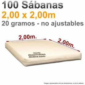 100 Sábanas Desechables 2,00x2,00m