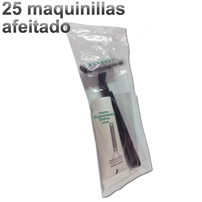 25 Maquinillas Afeitado 2 Hojas Con Crema